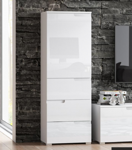Santino White Gloss Slim Tallboy Storage Unit with Cupboard and Drawers S11 - 2642